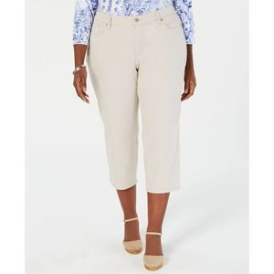 FALLS CREEK Plus Skinny Crop Capris Stretch Cream